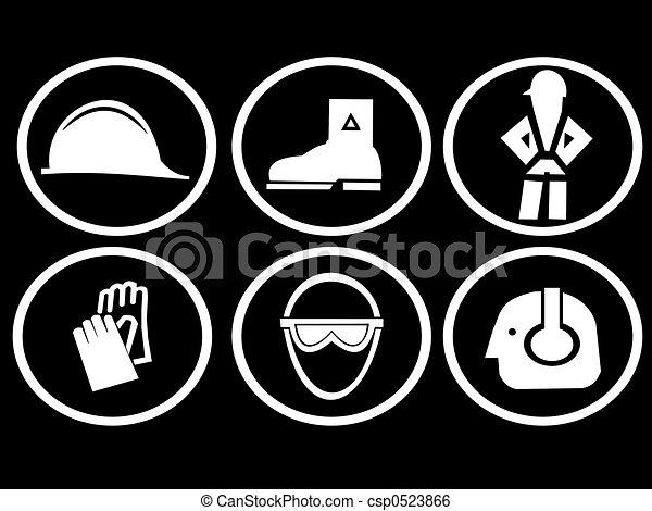 símbolos, construção, segurança, local - csp0523866