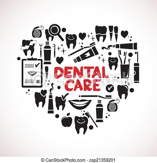 símbolos, coração, dental, forma, cuidado - csp21359201
