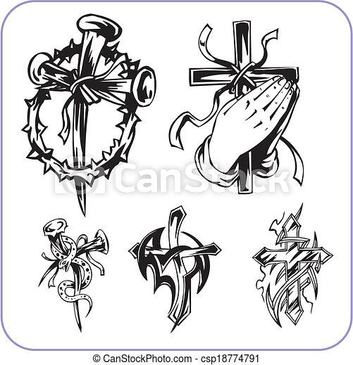 símbolos, cristão, vetorial, -, illustration. - csp18774791