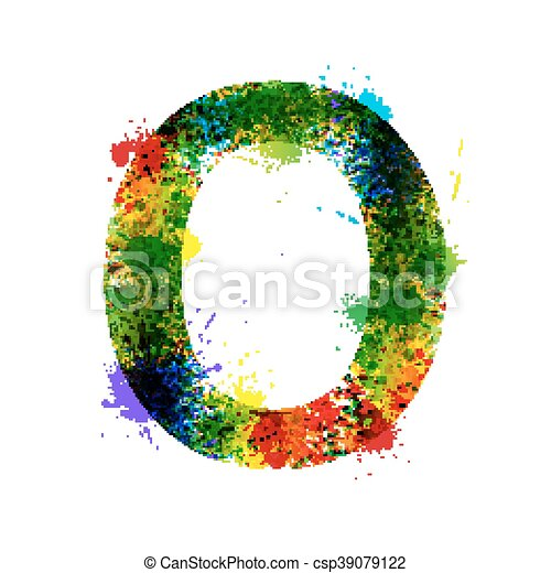 Salpicaduras de pintura de color. Ganador de vector font. El alfabeto de decoración de acuarelas. Simbolos de tinta aislados en un fondo blanco. Carta O - csp39079122