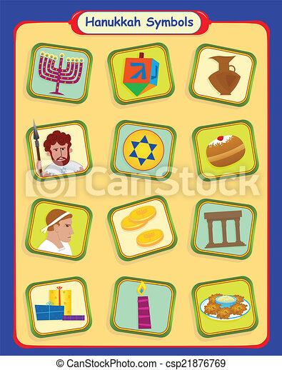 Simbolos de Hanukkah - csp21876769
