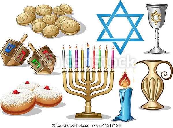 Los símbolos de Hanukkah empaquetan - csp11317123