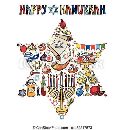 Símbolos, hanukkah, saludo, david, star.doodles, card.israel ...