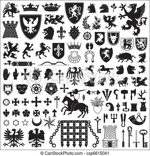 símbolos, heráldico, elementos - csp6615041