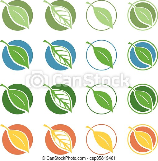 símbolos, hoja, vector, natural - csp35813461