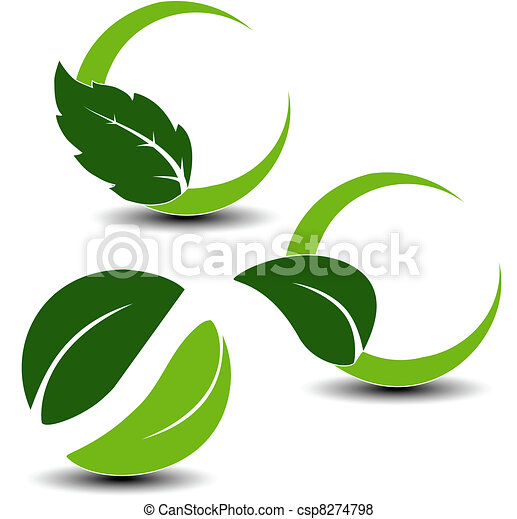 símbolos, hoja, vector, natural - csp8274798