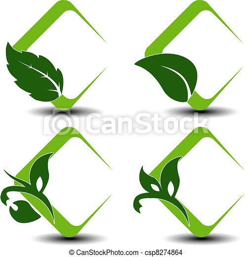 símbolos, hoja, vector, natural - csp8274864