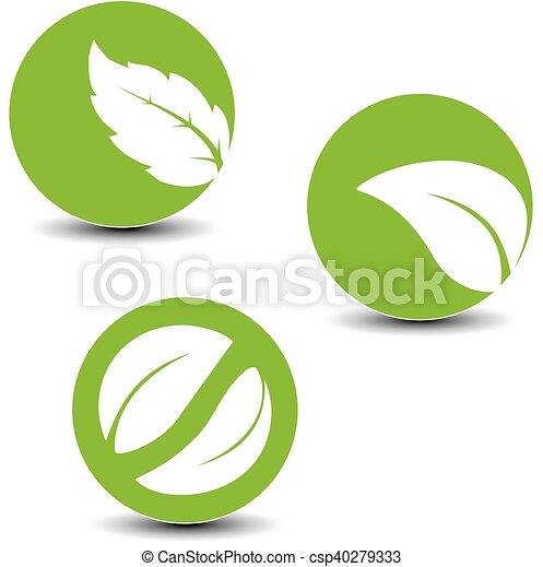 símbolos, hoja, vector, natural - csp40279333