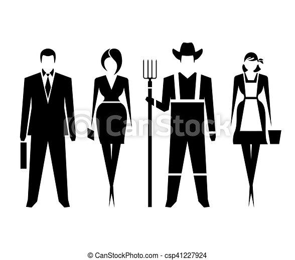 Símbolos Hombres Mujeres Mujer Farmers Bien Símbolos Vector