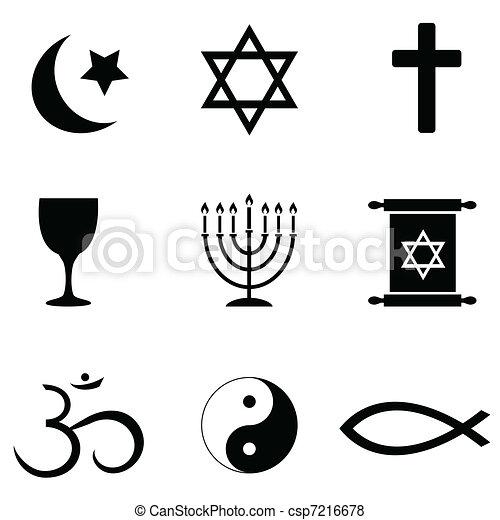 Simbolos religiosos, iconos - csp7216678
