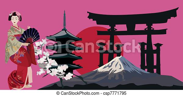 símbolos, japonés - csp7771795