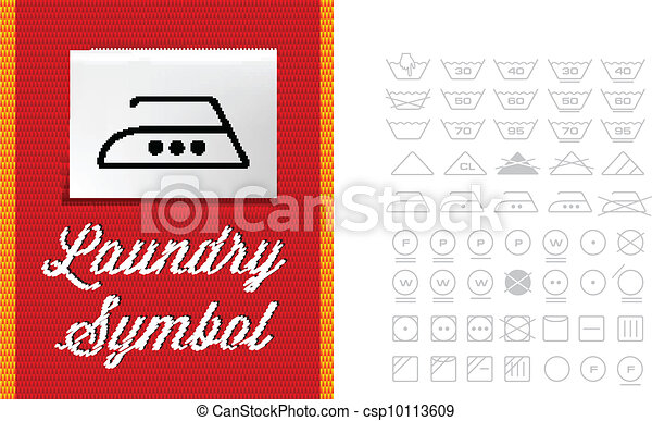 Lavar Simbolos En La Etiqueta De Ropa Vector Listo