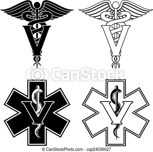 Simbolos médicos veterinarios - csp24036027