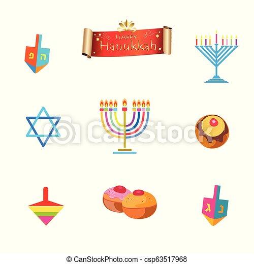 Menorah y Hanukkah símbolos - csp63517968