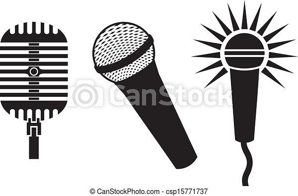Simbolos clásicos de micrófonos - csp15771737