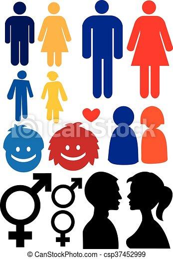 Símbolos Mujer Relación Hombre Mujer Silueta Illustration