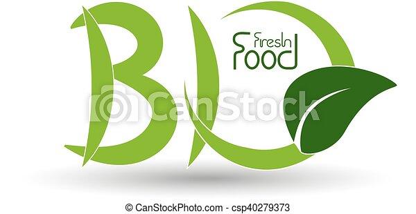 Simbolos naturales vectores, icono biológico con hoja - csp40279373