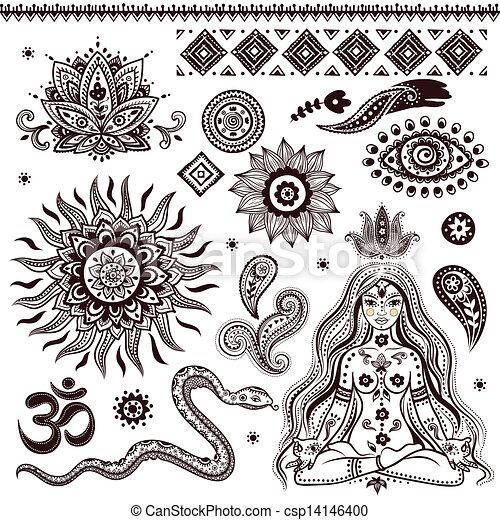 símbolos, ornamental, conjunto, indio, elementos - csp14146400