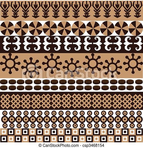 símbolos, padrão, africano, ornamentos, étnico - csp3468154