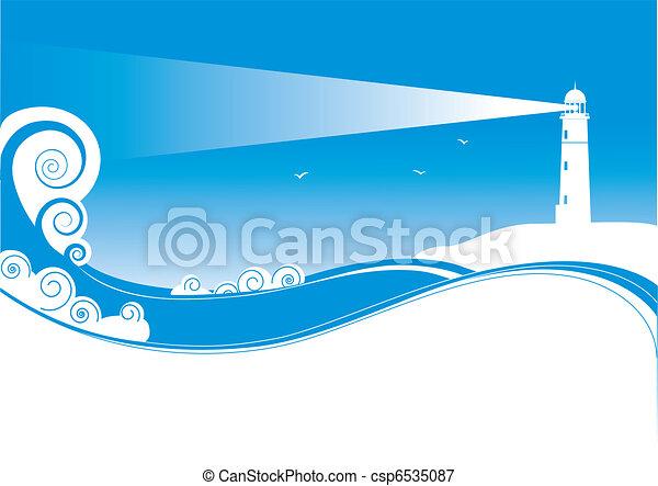 Simbolos de vectores de Lighhouse en el paisaje marino - csp6535087