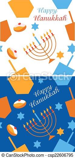Patrón con símbolos de Hanukkah - csp22606795