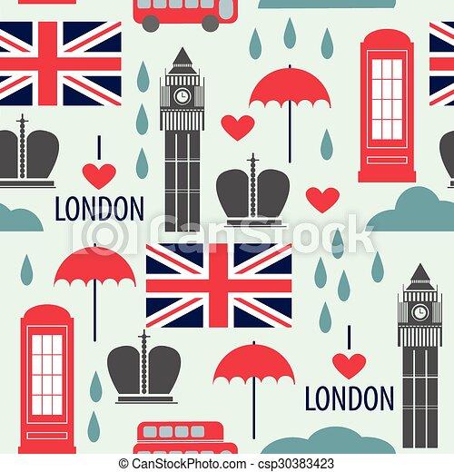 Patrón sin daños con símbolos de Londres - csp30383423