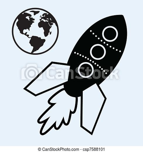 Nave de cohetes y símbolos terrestres - csp7588101