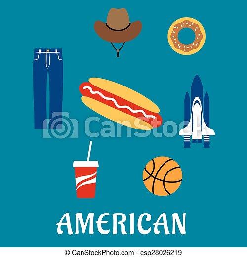 Simbolos planos y iconos americanos - csp28026219