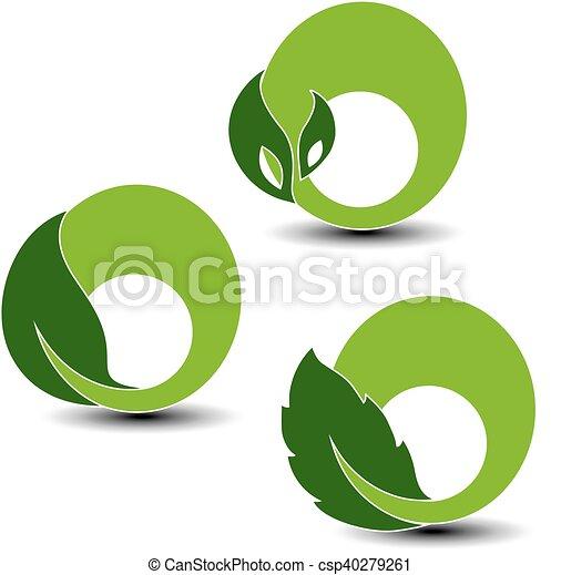 símbolos, planta, elementos, natural, naturaleza, hoja, vector, circular - csp40279261