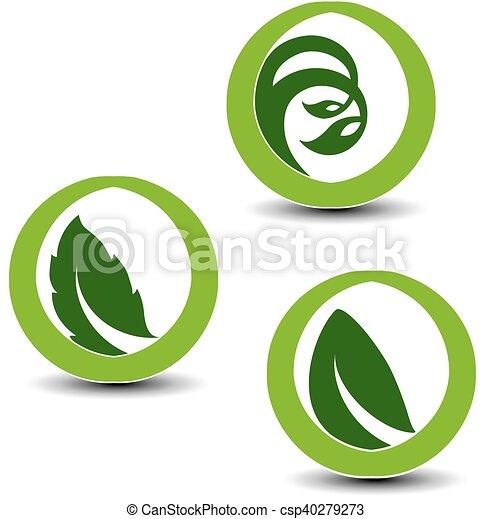 símbolos, planta, elementos, natural, naturaleza, vector, hoja, circular - csp40279273