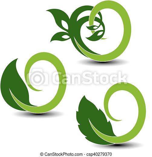 Simbolos naturales vectores, elementos circulares de la naturaleza con hojas y plantas - csp40279370