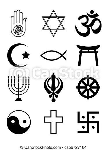 Símbolos Religioso Blanco Negro Y Symbols Aislado Siluetas