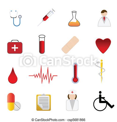Simbolos Saude Medica Cuidado Jogo Medico Relatado Simbolos
