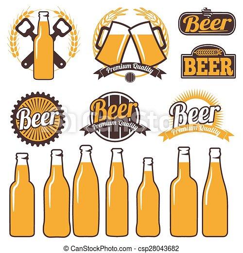 iconos de cerveza, etiquetas, señales, símbolos - csp28043682