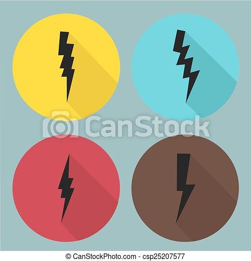 Simbolos de rayos planos fijados. Vector. - csp25207577