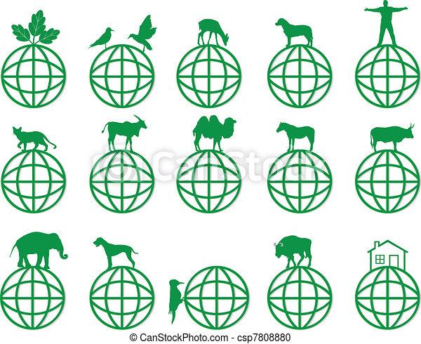 La Tierra y los símbolos de ecología - csp7808880