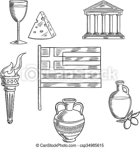 Símbolos, tradicional, objetos, grecia, cultura. Queso, parthenon ...