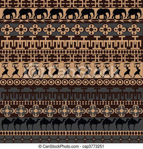 símbolos, tradicional, ornamentos, textura, africano - csp3773251