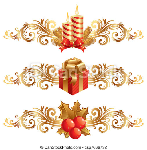 Los símbolos de la Navidad Vector son adornos - csp7666732