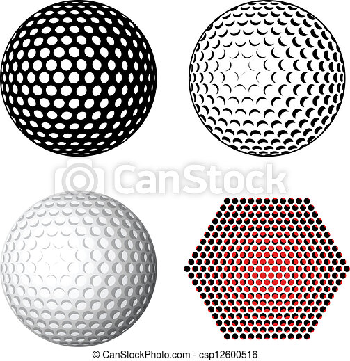 símbolos, vector, pelota de golf - csp12600516