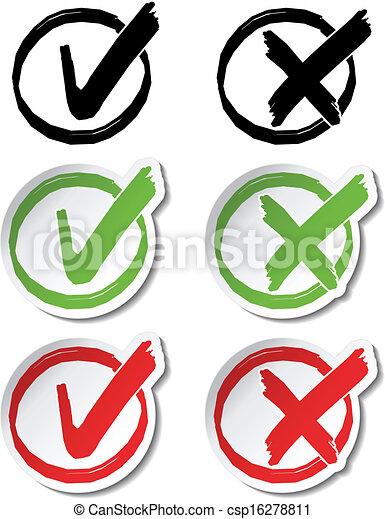 símbolos, vetorial, circular, confira mark - csp16278811
