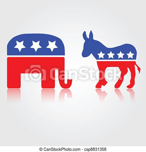 Símbolos republicanos demócratas - csp8831358