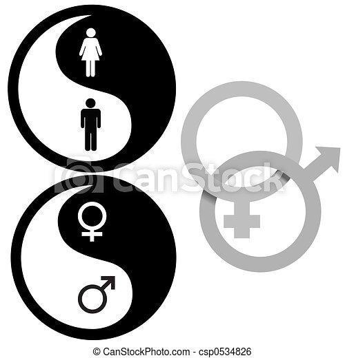 símbolos, yin, macho, femininas, yang - csp0534826