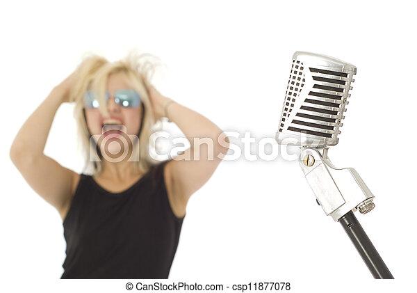 s�nger, rockender , mikrophon, retro - csp11877078