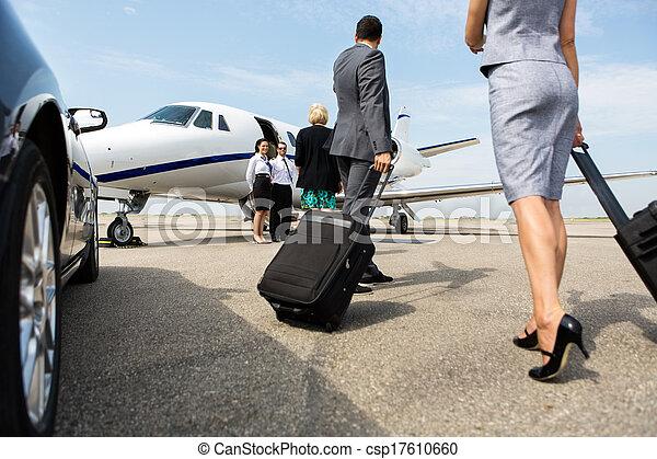sócios, andar, jato negócio, privado - csp17610660