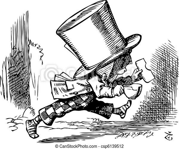El Sombrerero Loco como se va apresuradamente Las aventuras de Alice en Maravilla - csp6139512