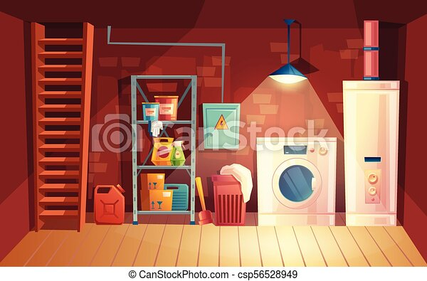 sótano, lavadero, vector, interior, sótano, caricatura