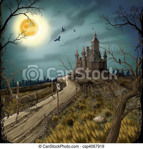 sötét, bástya, éjszaka, hold - csp4067919