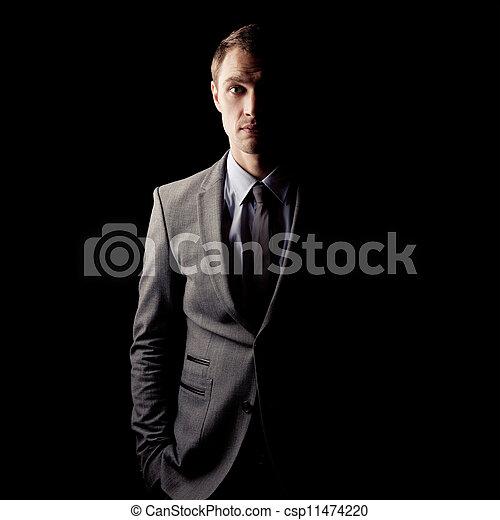 sötét, portré, human.psychological, lejtő - csp11474220
