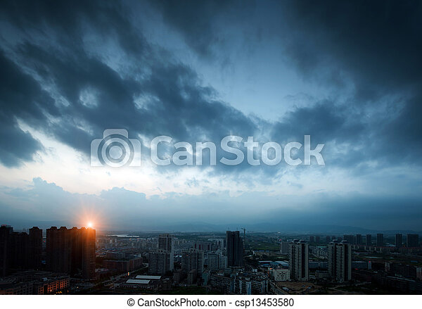 sötét, város, elhomályosul, night. - csp13453580